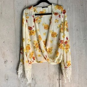 Sheer Yellow Floral Lace Bell Sleeve Blouse